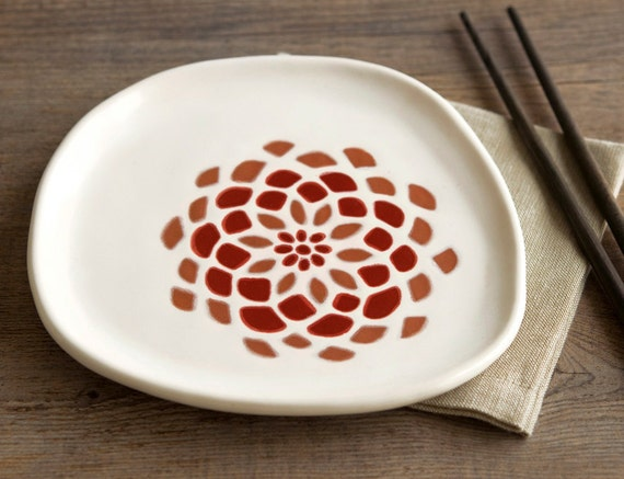ready to ship - decorative appetizer plate - dahlia flower in burnt orange and red - fall decor