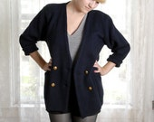 Vintage 80s Dbl Breasted Navy Blue MILITARY Style CARDIGAN Gold M