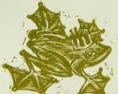 THE FROG PRINCE - Linocut on pale card