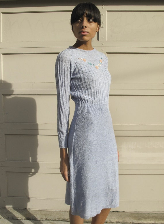 SALE---Vintage 1970s Periwinkle Blue Embroidered Knit Sweater Dress XS/S