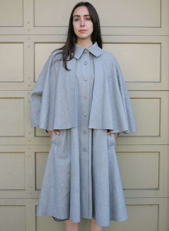 Vintage 1940's Grey Wool Victorian Inspired Cape Coat S