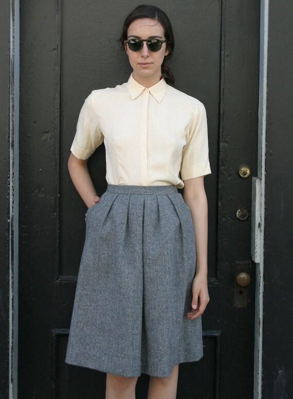 Vintage Early 1980's Gray Tweed Wool Twin Peaks Circle Skirt XS/S