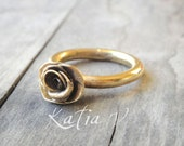gold plated bronze rose ring