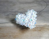AB crystal  puffy heart pendant, sterling silver clasp