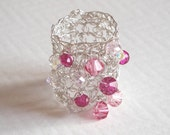 wire sterling silver crochet ring, pink crystal bicone beads