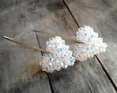 handmade puffy crystal heart sterling silver earrings