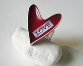 Valentines LOVE sterling silver red heart ring
