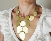 gold statement necklace,24Kt gold plated ,bib necklace,statement jewelry