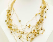 OOAK gold statement necklace - wire crochet, gold plated necklace-crystal beads
