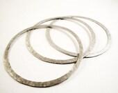 sterling silver hammered bangle bracelets - set of 3