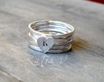 personalized ring handmade sterling silver stackable rings set of 5 - monogram heart ring - stacking rings