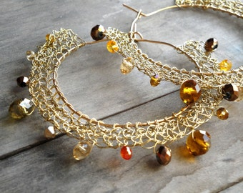 wire gold plated earrings - crystal beads