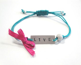 handstamped sterling silver bracelet - friendship bracelet - adjustable size