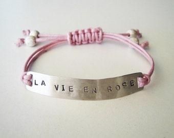 friendship bracelet la vie en rose sterling silver - adjustable size