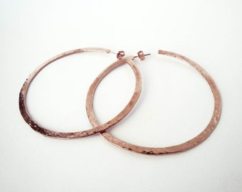 handmade 24K rose gold plated hammered extra large hoops earrings bronze earring rose gold statement earrings