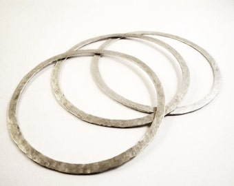 sterling silver hammered bangle bracelets - set of 3