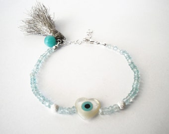 friendship bracelet sterling silver evil eye high quality aquamarine multifaceted beads 3mm