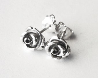 Rose stud earrings, rose earrings, oxidized sterling silver earrings