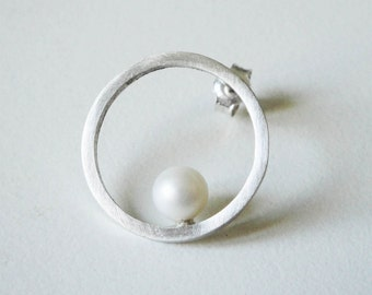 sterling silver bridal circle earrings  white fresh water pearls - pearl earrings