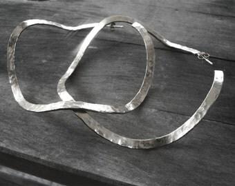 sterling silver hammered extra large hoop earrings