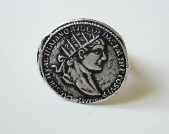 statement ring, ancient roman coin sterling silver ring - coctail ring