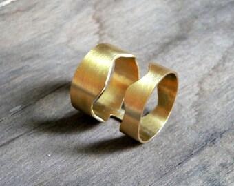gold plated bronze statement ring-organic ring, handmade bronze ring