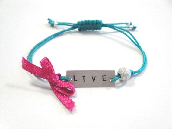 handstamped sterling silver bracelet - friendship bracelet - adjustable size