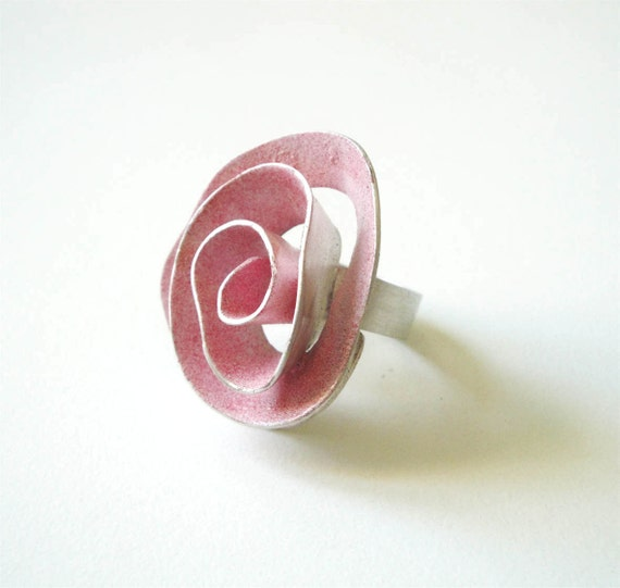big pink rose, sterling silver, statement ring