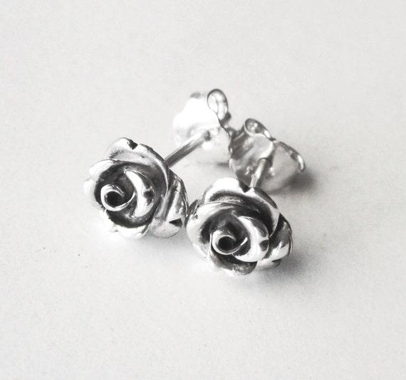 Rose stud earrings, rose earrings, oxidized sterling silver earrings,silver roses romantic studs