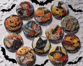 A Halloween  Story 1 inch Plastic Back Medallion Cabochon Cameo Charms 25mm Lot - D