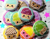 Kawaii Cupcakes 1 inch Plastic Back Medallion Cabochon Cameo Charms 25mm Lot Style - A