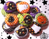 Halloween Candy Corn Cuties Mix 1 inch Plastic Back Medallion Cabochon Cameo Charms 25mm Lot