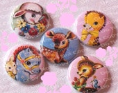 Little Retro Style Animal Cuties 1 inch Plastic Back Medallion Cabochon Cameo Charms 25mm Lot - B