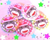 NEW Sock Monkey on Plaid 1 inch Plastic Back Medallion Cabochon Cameo Charms 25mm Lot