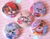 Cute Vintage Style Puppy Dog 1 inch Plastic Back Medallion Cabochon Cameo Charms 25mm Lot - A