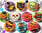 Happy Retro Style Halloween Mix 1 inch Plastic Back Medallion Cabochon Cameo Charms 25mm Lot