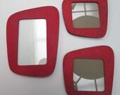 Set of 3 small French vintage 50s design RED FRAMEWORKS