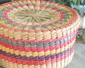 Colorful Lidded Basket- Ranch Cabin