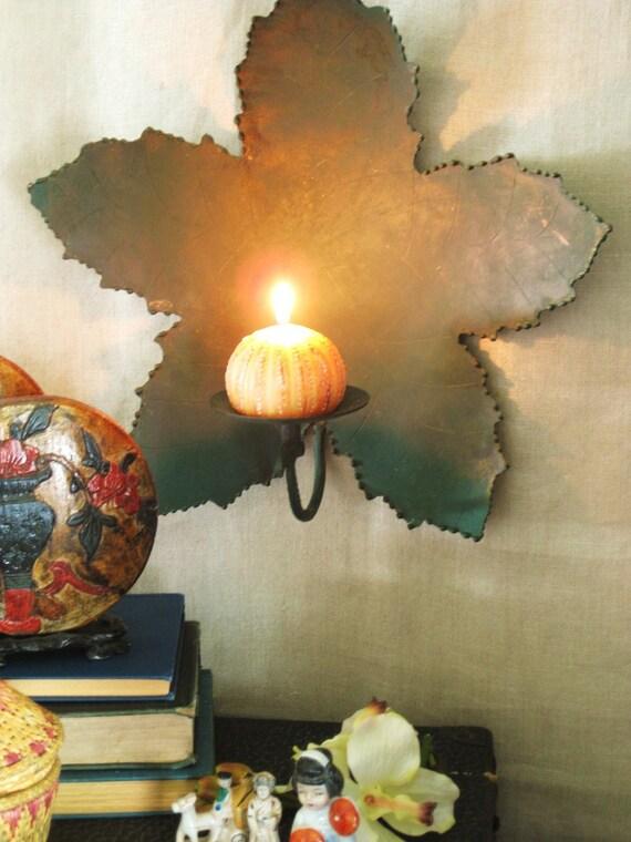 Vintage Metal Leaf Candle Sconce- Ranch Cabin
