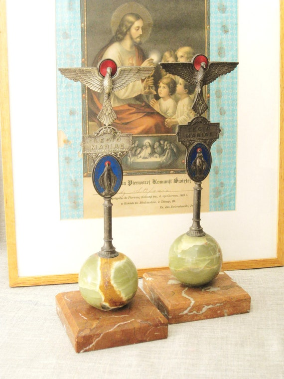 RESERVED - Pair of Antique Alter Statues- Vintage Religion