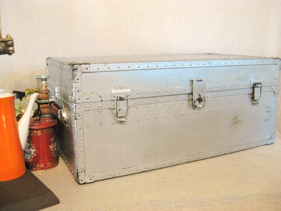 ReservedSF- Vintage Steel Military Trunk- Classic Vintage
