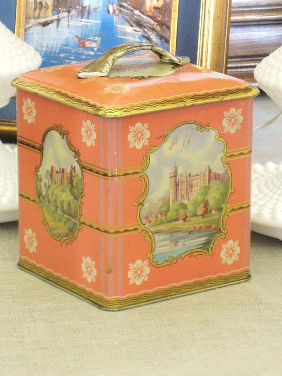 Vintage Square Pink Tin- Cottage Life