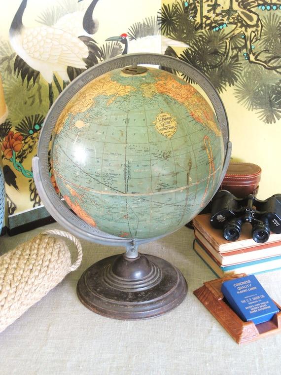 Antique World Globe by Replogle Globes- Classic Vintage