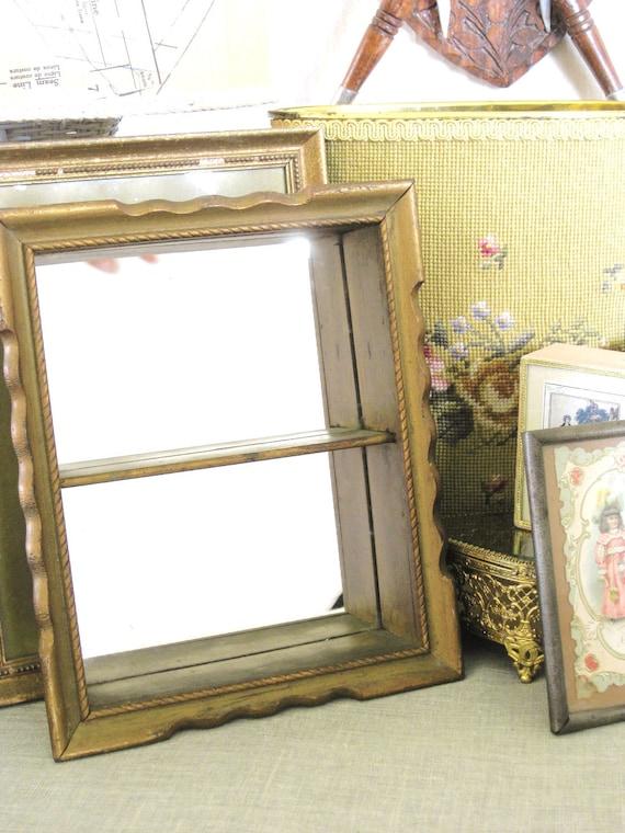 Antique Mirror Back Wooden Curio Shelf Cottage Life