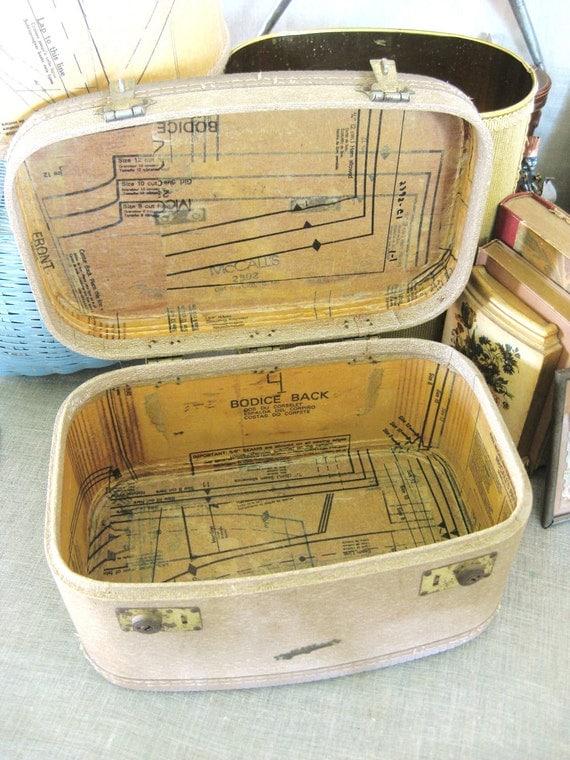 Vintage Train Case w/ Decoupage Lining- Classic Vintage