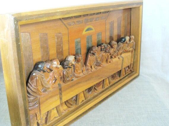 Vintage Handcarved Wood Last Supper Relief Plaque- Vintage Religion