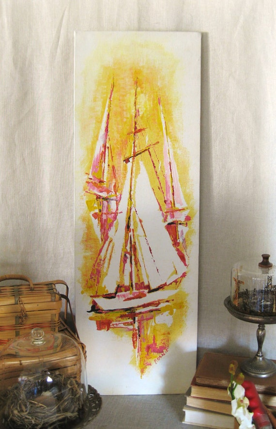 Vintage Original Painting Pink Sails- Vintage Art Gallery
