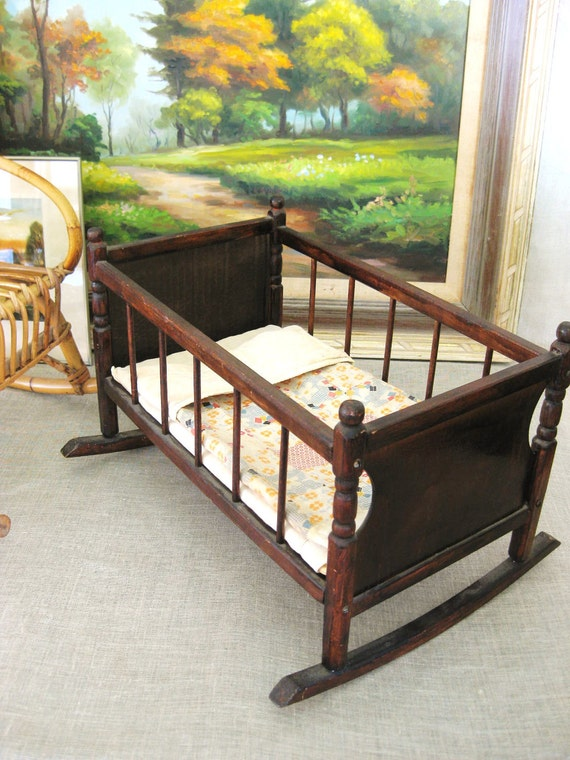 Antique Doll Crib w/ Handmade Doll Quilt- Vintage Child
