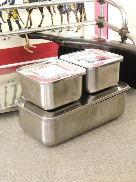 Vintage Set of Stainless Medical Boxes- Vintage Penthouse