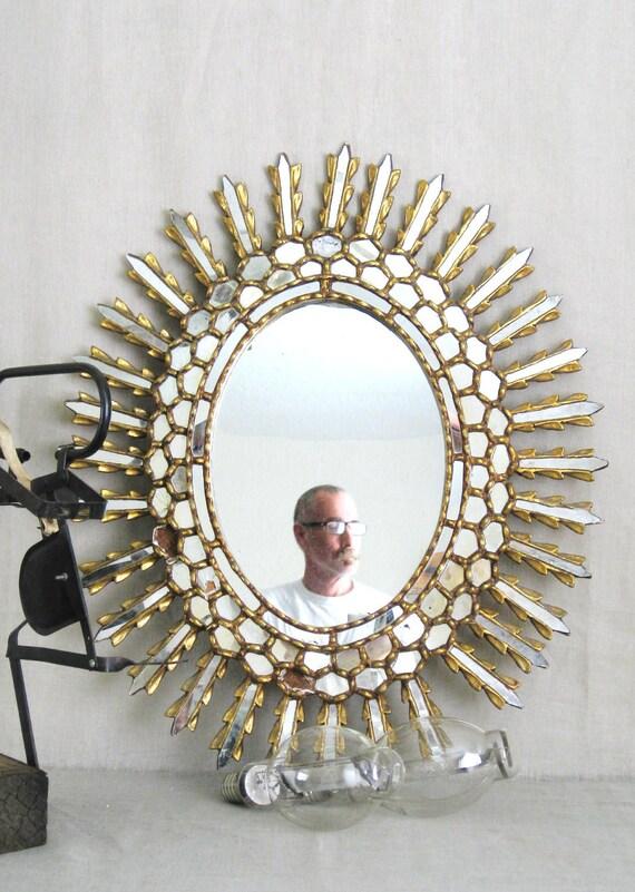 Vintage Star Burst Mirror Wood - Queens Manor